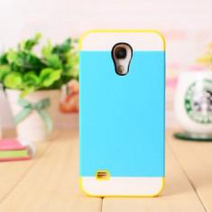 Husa hibrid plastic silicon Samsung Galaxy s4 i9500 i9505 + folie ecran - Husa Telefon Samsung, Albastru, Carcasa