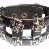 Bratara din piele neagra cu decor Cruce BI037