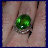 ! inel stralucitor argint 925 cu piatra semipretioasa verde intens, oval cut, model antic! - Inel argint
