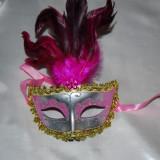 Masca venetiana cu pene de carnaval - Masca carnaval