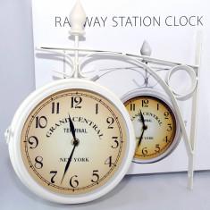 Ceas dublu de pererete - cu doua fete - New York Railroad - vintage - Alb - Ceas de perete