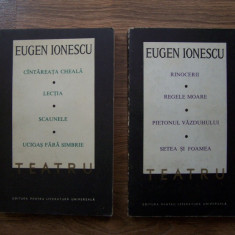 EUGEN IONESCU - TEATRU, 2 VOL (8 piese - Cantareata cheala, Scaunele, etc), 1968 - Roman