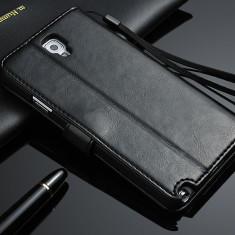 Husa/toc piele fina Samsung Galaxy Note 3 NEO lux, flip cover portofel, NEGRU - Husa Telefon Hoco