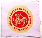 ROMANIA ECUSON WORLD SHOTOKAN KARATE UNION ROMANIA pe fundal alb, 70 mm **