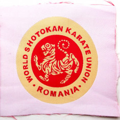 ROMANIA ECUSON WORLD SHOTOKAN KARATE UNION ROMANIA pe fundal alb, 70 mm **