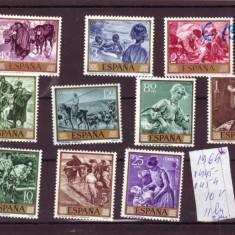 SERIE TIMBRE SPANIA 1964 10 V. PICTURI - Timbre straine
