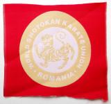 ECUSON WORLD SHOTOKAN KARATE UNION ROMANIA pe fundal rosu, 70 mm **