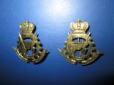 Set 2 Insigne militare rare- British India Pungnantes Adjuvo, metal aurit.