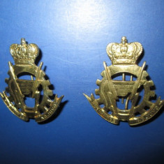 Set 2 Insigne militare rare- British India Pungnantes Adjuvo, metal aurit.