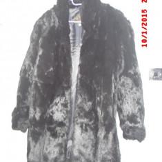 Haina blana, naturala, de iepure, absolut noua, neagra, de dama, marimea 42-46 - haina de blana