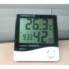 Ceas cu Termometru si umiditate pentru Birou casa cu ecran LCD mare - Aparat monitorizare
