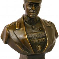 BUST BRONZ- STATUETA DIN BRONZ PE SOCLU DIN MARMURA - Sculptura