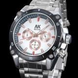 Ceas barbati ALIAS KIM  model aviator, cronograf, argintiu, Lux - sport, Quartz, Inox