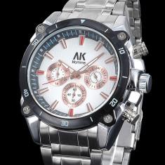 Ceas barbati ALIAS KIM (AK SUA) by FOSSIL model aviator, cronograf, argintiu - Ceas barbatesc Fossil, Lux - sport, Quartz, Inox