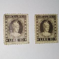 Lot 2 timbre fiscale MARCA DA BOLLO - 10 LIRE, Italia, An: 1940, Regi, Nestampilat