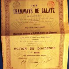 LUNA CADOURILOR - 50% A C T I U N E  T R A M V A I E  G A L A T I  1899