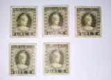 Lot 5 timbre fiscale MARCA DA BOLLO - 5 LIRE, Italia, Regi, Nestampilat