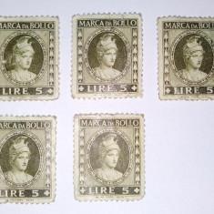 Lot 5 timbre fiscale MARCA DA BOLLO - 5 LIRE, Italia, An: 1940, Regi, Nestampilat