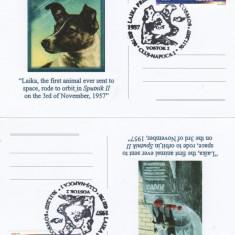 SET 4 CARTI POSTALE LAIKA IN COSMOS 1957-2007