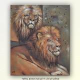 Tablou cu lei, ulei pe panza 60x50cm - Tablou autor neidentificat, An: 2014, Animale