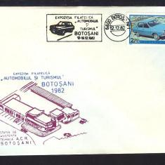 PLIC*EXPOZITIA FILATELICA AUTOMOBILUL SI TURISMUL BOTOSANI 1982*A.C.R BOTOSANI, Romania de la 1950, Transporturi