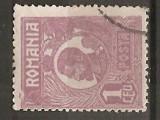 TIMBRE 104d, ROMANIA, 1920, FERDINAND BUST MIC, 1 LEU, EROARE, CADRU INTRERUPT PE LATURA DE SUS, EROARE SPECTACULOASA, ERORI, ATIPIC, ATIPICE, ECV.