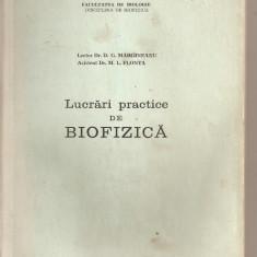 (C5645) LUCRARI PRACTICE DE BIOFIZICA DE dr. D.G. MARGINEANU SI dr.M. L. FLONTA, EDITATA DE FACULTATEA DE BIOLOGIE, BUCURESTI, 1981, LITOGRAFIATA, Alta editura