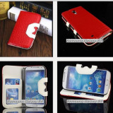 Husa Samsung Galaxy S4 SIV I9500 I9505 I9508 + folie protectie display + stylus - Husa Telefon Samsung, Rosu, Cu clapeta