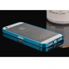 Bumper metal subtire blue albastru pentru iphone 5 S / G + folie protectie ecran cadou