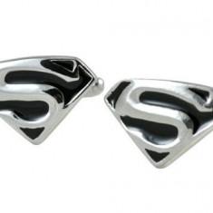 Butoni Superman argintii cu negru + cutie simpla cadou, Inox