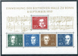 GERMANIA 1959 BEETHOVEN  COLITA  NESTAMPILATA, Nestampilat