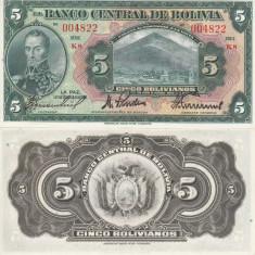 BOLIVIA 5 pesos 1928 AUNC!!!
