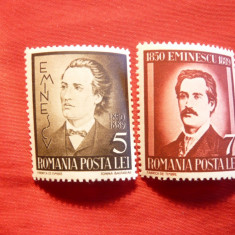 Serie Mihai Eminescu -La 50 Ani de la moarte 1939 Romania, 2 val. - Timbre Romania