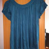 Bluza H&M verde turcoaz impletita tricou top maneca scurta marimea L bumbac