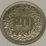 G7. ELVETIA 20 RAPPEN 1965, 4 g., Copper-Nickel, 21.05 mm, XF **, Europa