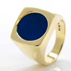 Inel Barbati 14k 585 Aur 1 Lapis Lazuli Oval 17 6g
