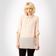Nou Camasa roz transparenta cu guler paiete UK 16 EUR 44 L - Camasa dama Zara, Maneca lunga, Universala