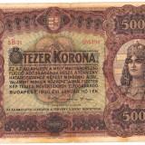 Bancnota Ungaria F.FOARTE RARA 5000 KORONA 1920 CINCI MII COROANE scris pe romaneste, verso URIASA 135 x 205 mm VF