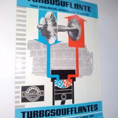 Pliant prezentare Turbosuflante pentru supraalimentarea motoarelor diesel in patru timpi, anii '60 - Pliant Meniu Reclama tiparita