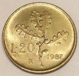 G7. ITALIA 20 LIRE 1987, 3.6 g, Al-Bronze, 21.2 mm TIRAJ MAI MIC AUNC / UNC **, Europa