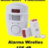 Sistem ALARMA wireless cu 2 Telecomenzi+ senzor miscare pt casa apartament garaj