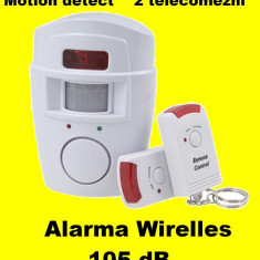 Alarma wireless cu 2 Telecomenzi+ senzor miscare pt casa apartament garaj - Sisteme de alarma