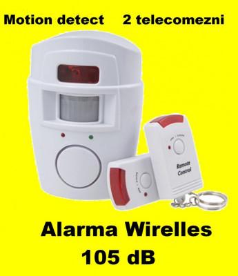 Alarma wireless cu 2 Telecomenzi+ senzor miscare pt casa apartament garaj foto