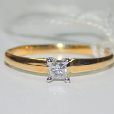 Inel aur 14k diamant 0, 13ct princess cut - Inel diamant, Culoare: Galben, 46 - 56