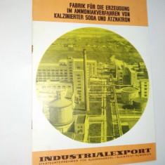 Pliant romanesc pentru Fabrica de procesare a amoniacului, sodei caustice si soda calcinata, anii '60 - Pliant Meniu Reclama tiparita
