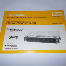 CARTE TEHNICA, UNIVERSUM UCR 1105 RADIO CASETOFON . - Carti Electronica