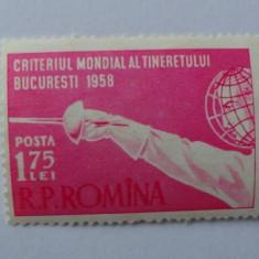 LP 453, criteriul mondial al tineretului la scrima, MNH - Timbre Romania, An: 1958, Nestampilat