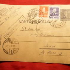 Carte Postala circ. cu 10 lei Mihai, marca fixa, cenzurata, de la San Nicolau, 1943 - Carte Postala Transilvania dupa 1918