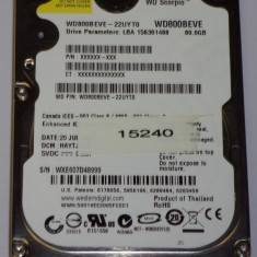 HARD DISK IDE HDD laptop Western Digital IDE HDD 2.5 INCH NETBOOK NOTEBOOK 80 GB IDE PATA WD SCORPIO WD800BEVE TESTAT 100% OK 5400 rot 8 MB, IDE, 41-80 GB