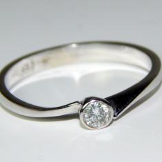 Inel aur alb 14k si diamant 0.10ct - Inel diamant, 46 - 56